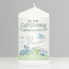 Whimsical Train Christening Candle             NP0409A82